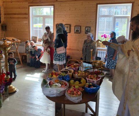 Водосвятный молебен с освящением винограда, яблок и других плодов, которые принесли прихожане